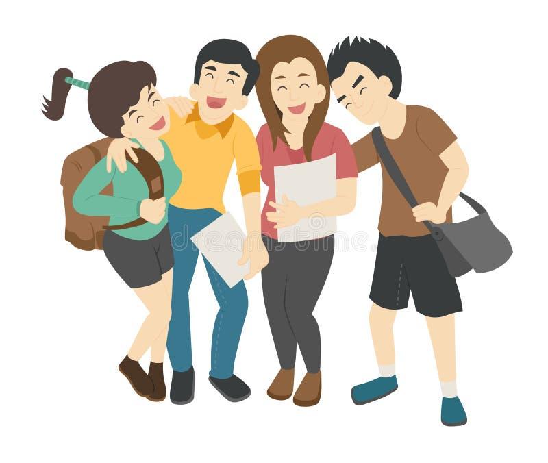 Grupo de estudantes adolescentes de sorriso ilustração stock