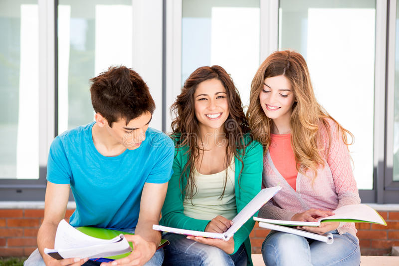 Grupo de estudantes no terreno foto de stock