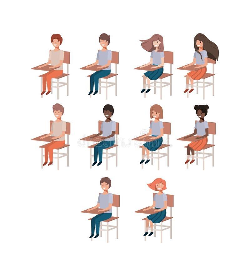 Grupo de estudantes novos em cadeiras da escola ilustração stock