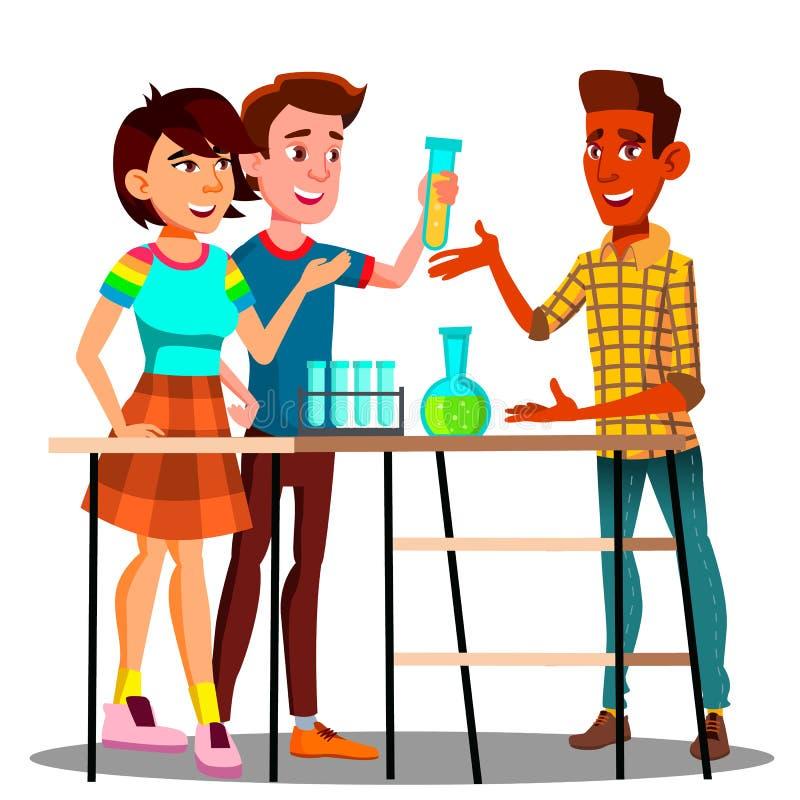 Grupo de estudantes que estão na tabela com garrafas, vetor da lição da química Ilustração isolada ilustração royalty free