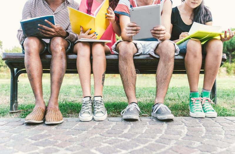 Grupo de estudantes que estudam exterior fotos de stock