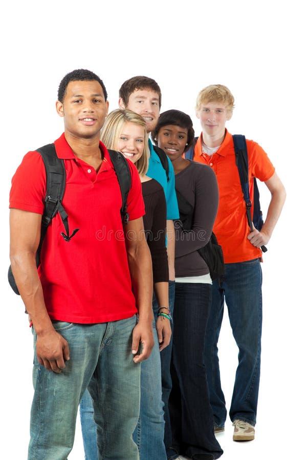 Grupo de estudantes universitários multi-racial imagens de stock