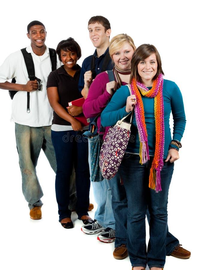 Grupo de estudantes universitários multi-racial foto de stock royalty free