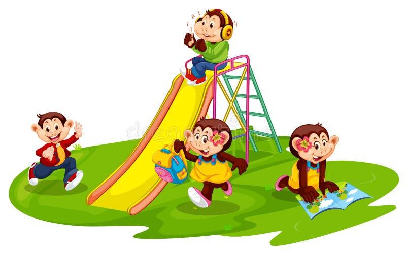 Grupo de estudiante del mono en el patio stock de ilustración