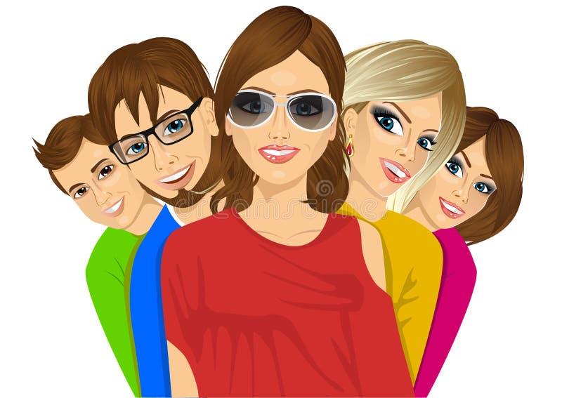 Grupo de estudiantes jovenes felices libre illustration