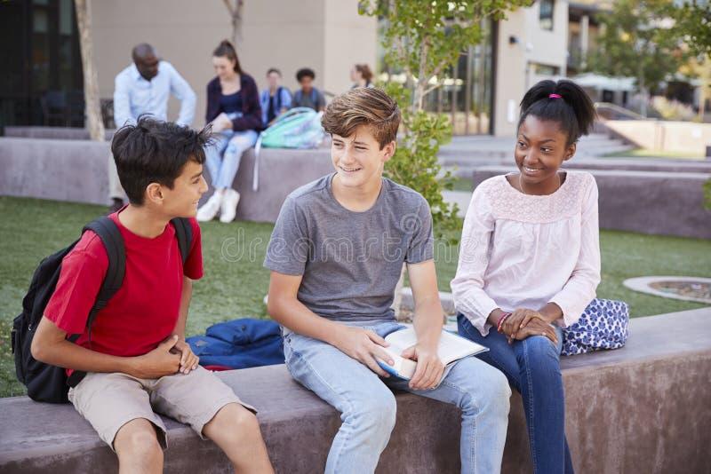 Grupo de estudiantes de la High School secundaria que estudian al aire libre durante hendidura fotos de archivo libres de regalías