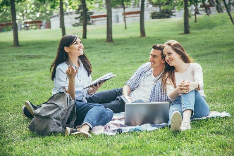 Grupo de estudiantes que comparten con las ideas en el césped del campus fotos de archivo