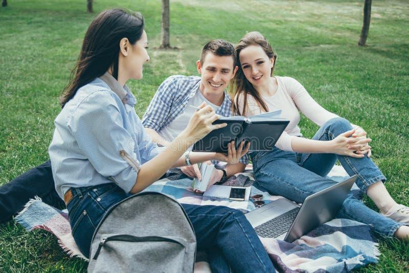 Grupo de estudiantes que comparten con las ideas en el césped del campus imágenes de archivo libres de regalías