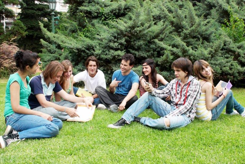 Grupo de estudiantes que se sientan en parque fotografía de archivo libre de regalías