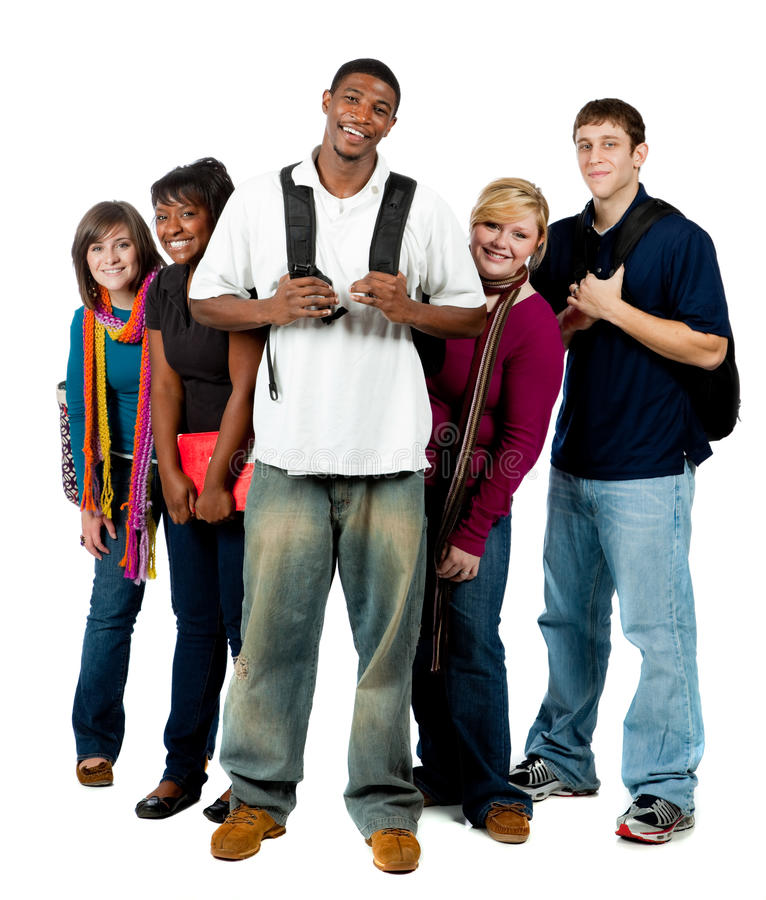 Grupo de estudiantes universitarios multirraciales imagen de archivo libre de regalías