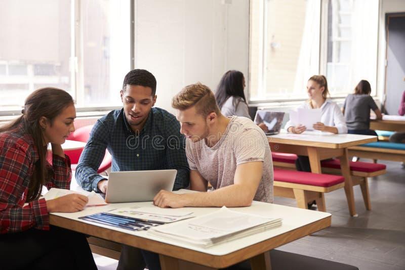 Grupo de estudiantes universitarios que trabajan en sitio de estudio fotografía de archivo