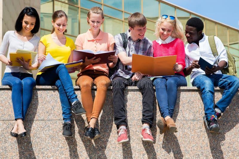 Grupo de estudo das estudantes universitário imagens de stock