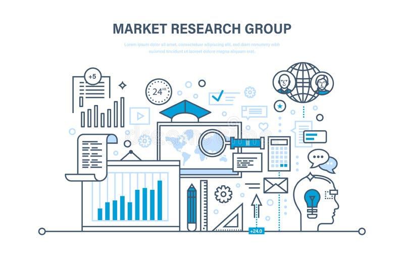 Grupo de estudos de mercado Análise, pesquisa, uma comunicação, estatística, troca de informação, cálculos ilustração stock