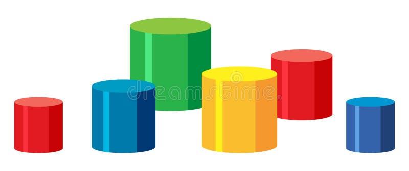 Grupo de etapas coloridas ilustração stock