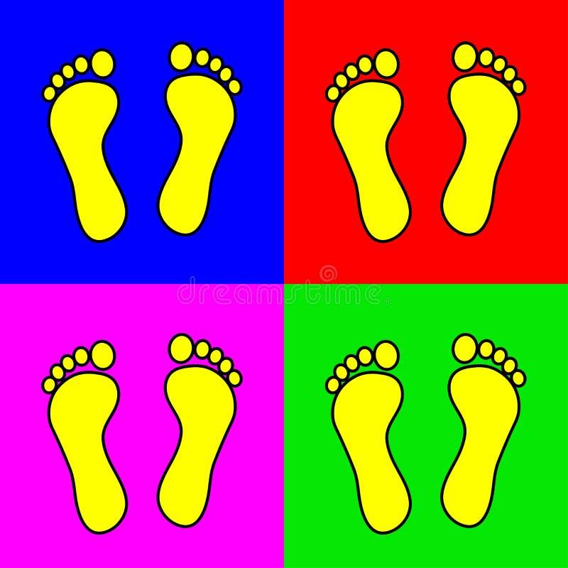 Grupo de 4 etapas coloridas do pé ilustração stock