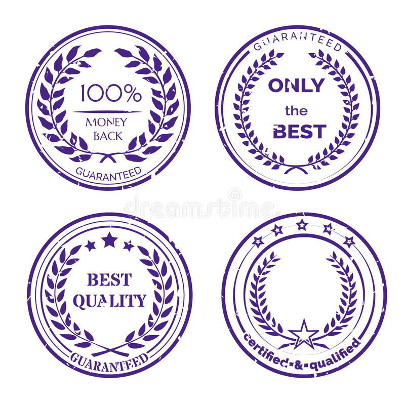 Grupo de etiqueta circular da garantia no fundo branco ilustração stock
