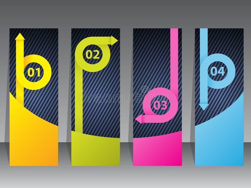 Grupo de etiqueta colorido com fitas da seta ilustração stock