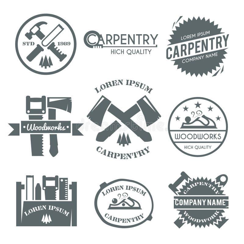 Grupo de etiqueta da carpintaria ilustração royalty free