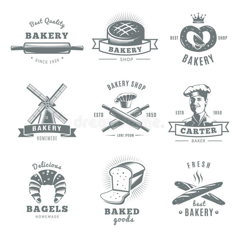 Grupo de etiqueta da padaria do vintage ilustração royalty free