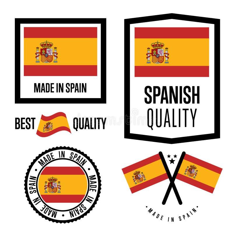 Grupo de etiqueta da qualidade da Espanha para bens ilustração do vetor