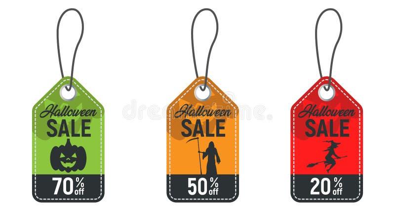 Grupo de etiqueta da venda de Dia das Bruxas, bandeira do disconto do Dia das Bruxas, oferta do Dia das Bruxas, preços do feriado ilustração royalty free