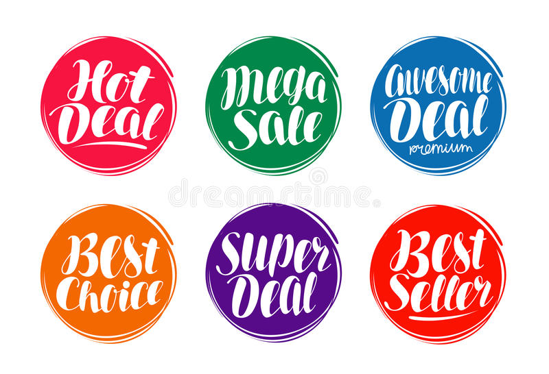 Grupo de etiqueta da venda Negócio quente, a melhor escolha, o ícone do vendedor ou o símbolo Rotulação escrita à mão, ilustração ilustração do vetor