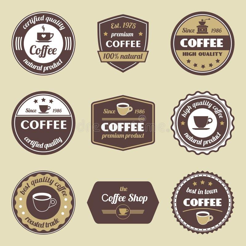 Grupo de etiqueta do café ilustração royalty free