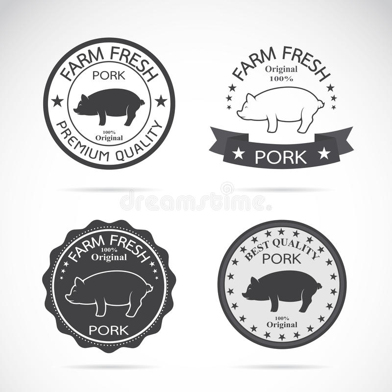 Grupo de etiqueta do porco do vetor ilustração do vetor