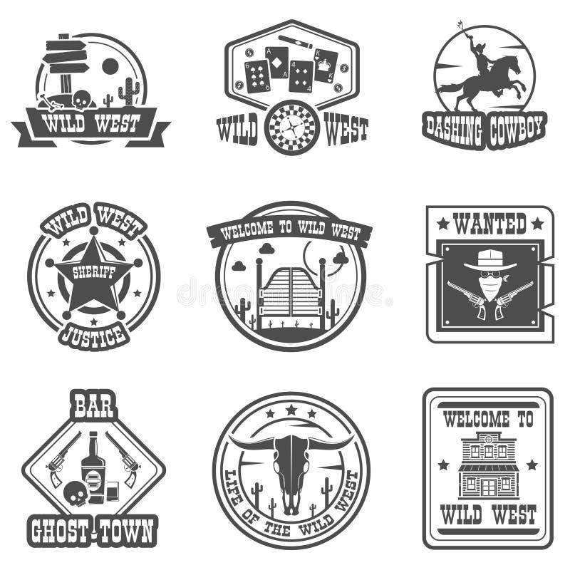 Grupo de etiqueta do vaqueiro ilustração stock