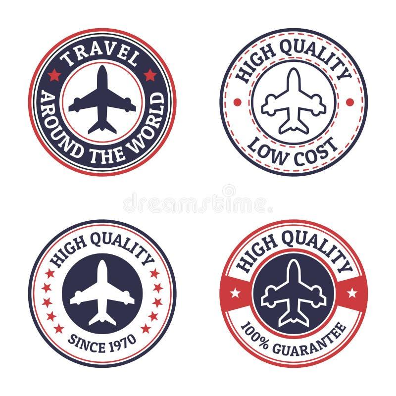Grupo de etiqueta do voo do estilo do vintage Molde do projeto do logotipo do vetor ilustração do vetor