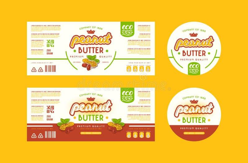 Grupo de etiqueta dos moldes para a manteiga de amendoim ilustração royalty free