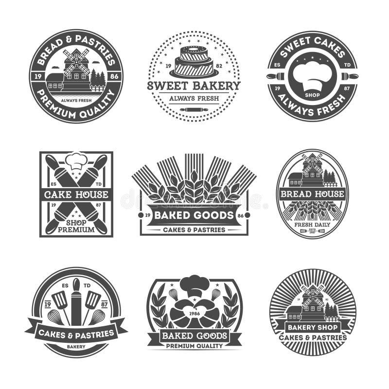 Grupo de etiqueta isolado vintage da loja da padaria ilustração stock
