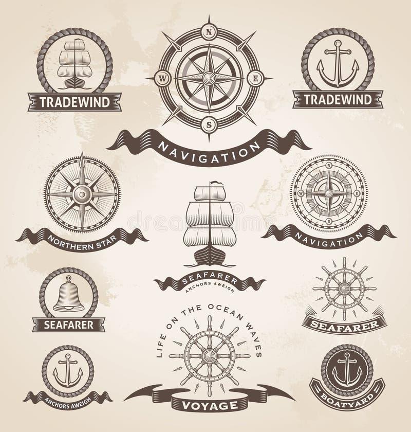 Grupo de etiqueta marinho náutico do vintage ilustração royalty free