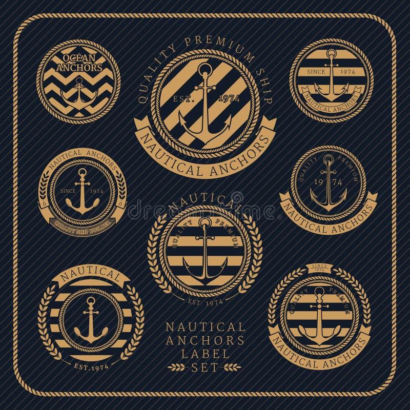 Grupo de etiqueta náutico das âncoras do vintage no fundo listrado escuro ilustração stock
