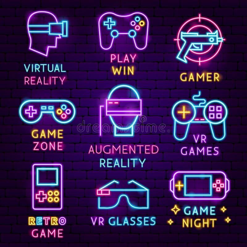 Grupo de etiqueta de néon dos jogos de VR ilustração stock