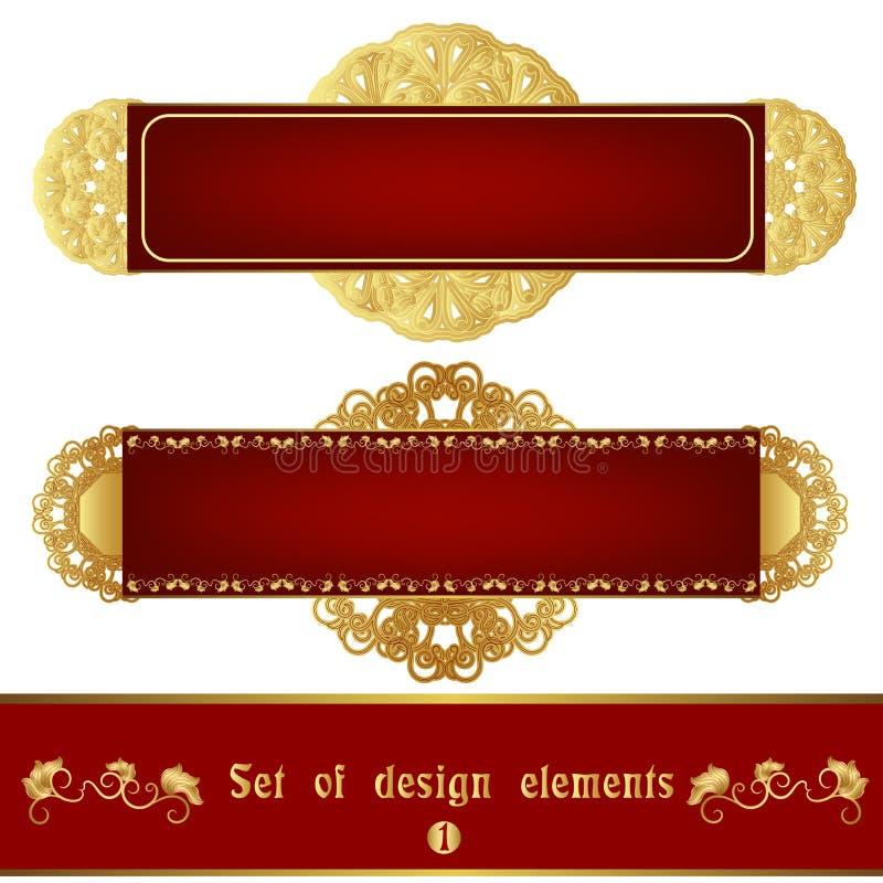 Grupo de etiqueta vermelha com o ornamento filigrana do ouro ilustração do vetor