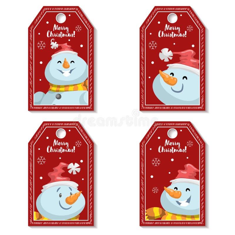 Grupo de etiqueta vermelha do Natal dos desenhos animados ou etiqueta com os bonecos de neve de riso e de sorriso no chapéu do `  ilustração royalty free