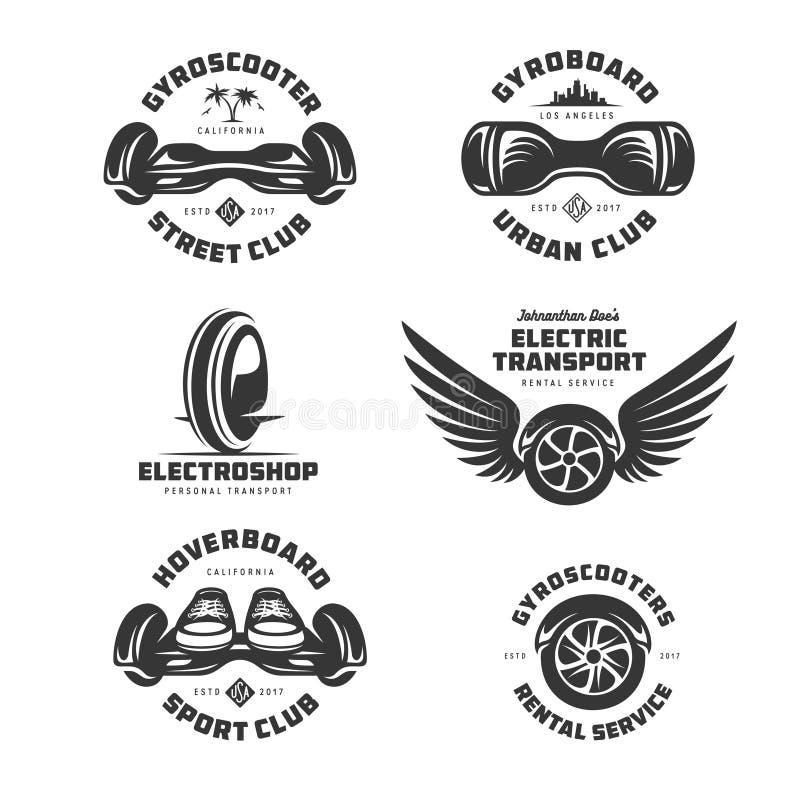 Grupo de etiquetas bonde do transporte de Gyroscooter Ilustração do vintage do vetor ilustração stock