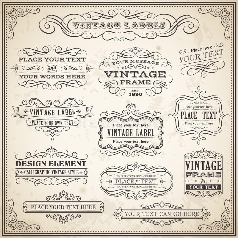 Grupo de etiquetas caligráfico do vintage ilustração royalty free