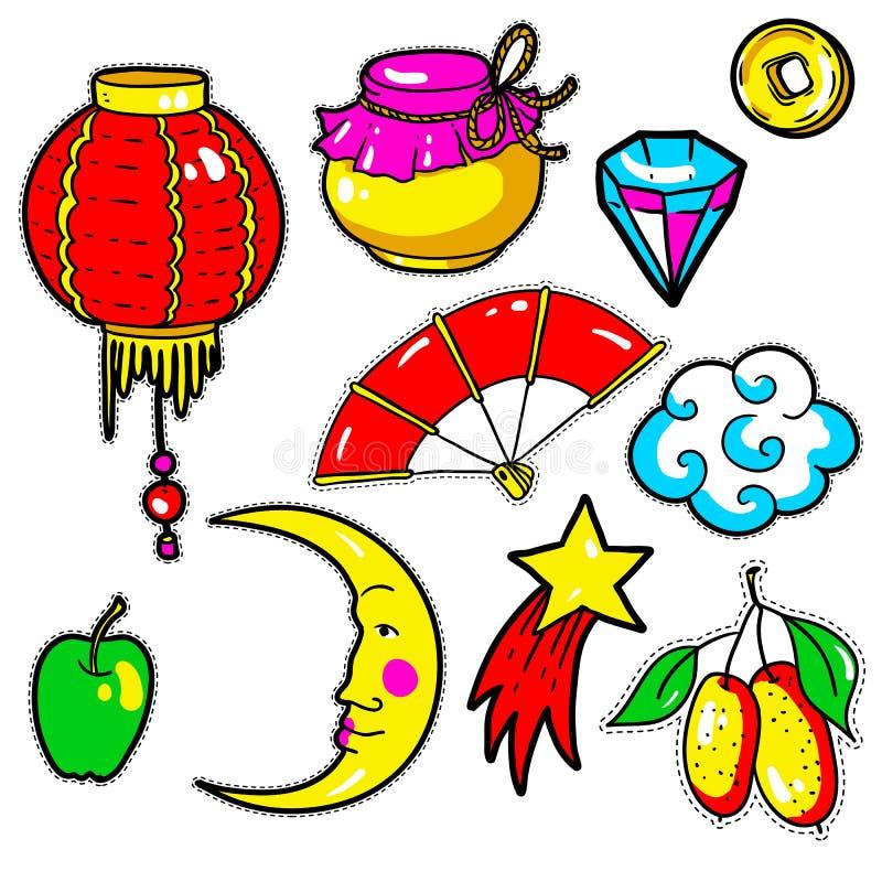 Grupo de etiquetas chinesas do ano novo, pinos, remendos em 80s-90s cômico ilustração royalty free