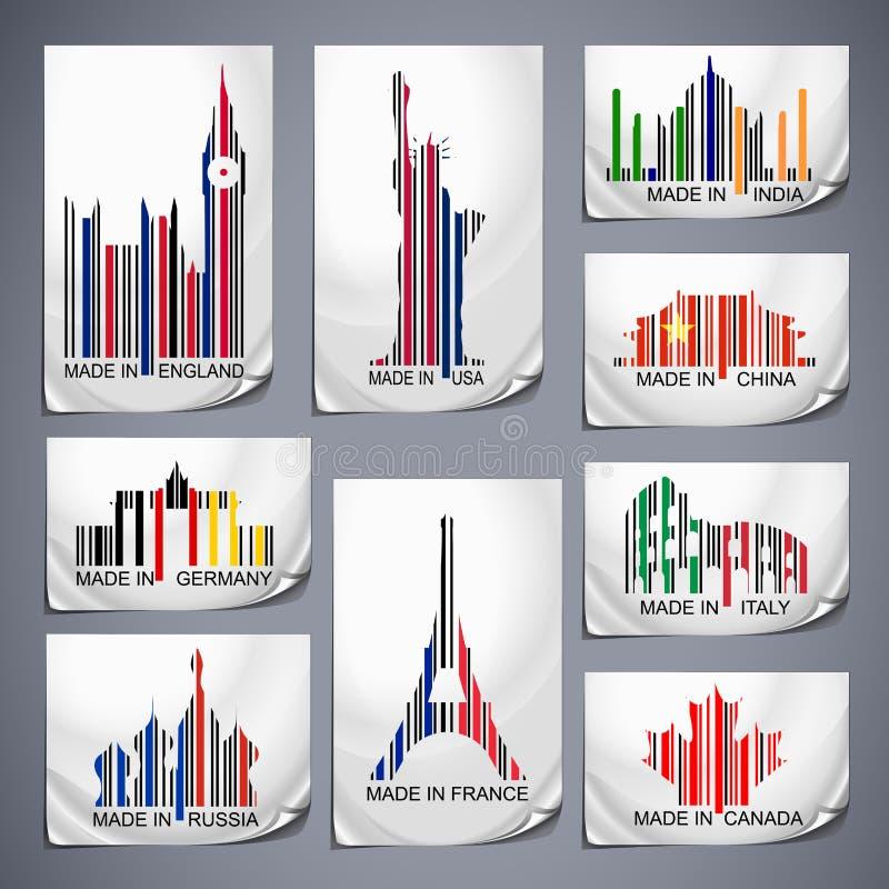 Grupo de etiquetas coloridas do código de barras ilustração royalty free