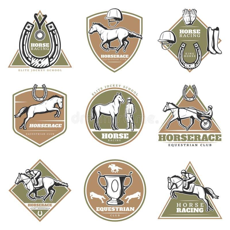 Grupo de etiquetas colorido do esporte equestre ilustração stock