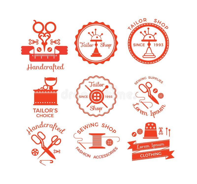 Grupo de etiquetas com símbolos da costura ilustração stock