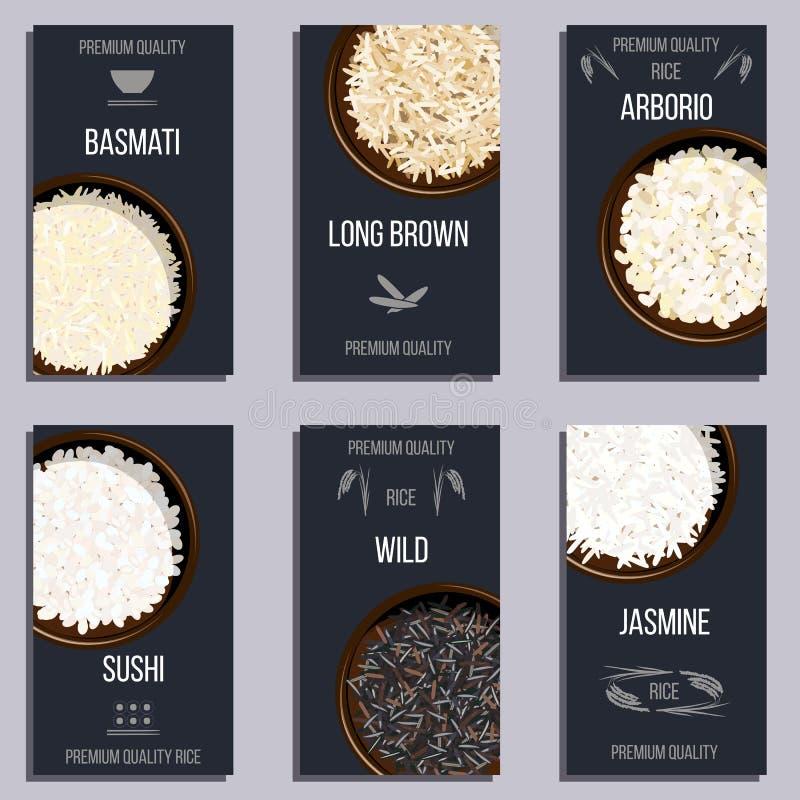 Grupo de etiquetas com tipos diferentes de arroz em uns potenciômetros ilustração stock