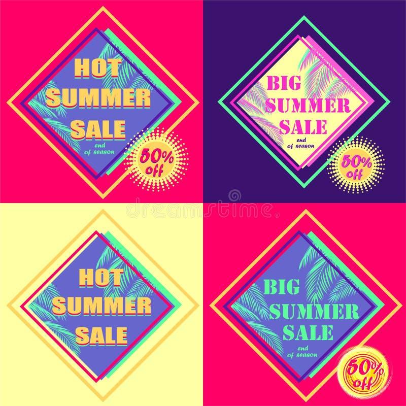 Grupo de etiquetas cor-de-rosa e violetas quentes do desconto para a venda do verão com folhas de palmeira da cor da hortelã e  ilustração do vetor