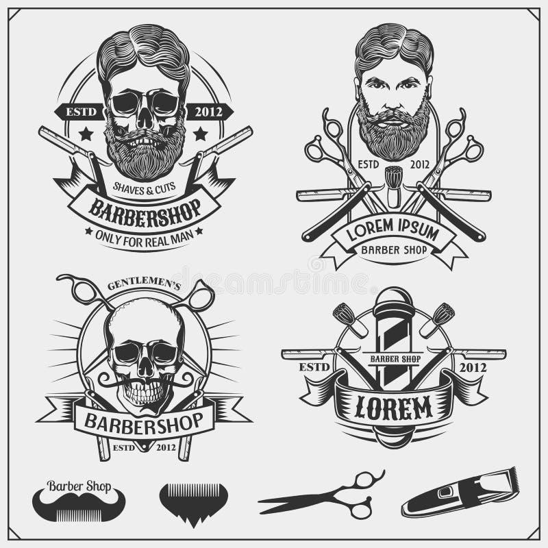Grupo de etiquetas da barbearia do vintage, de crachás, de emblemas e de elementos do projeto ilustração stock