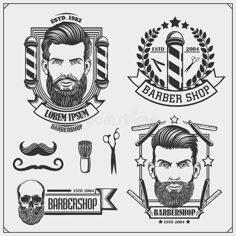 Grupo de etiquetas da barbearia do vintage, de crach?s, de emblemas e de elementos do projeto Ilustra??o preto e branco ilustração stock