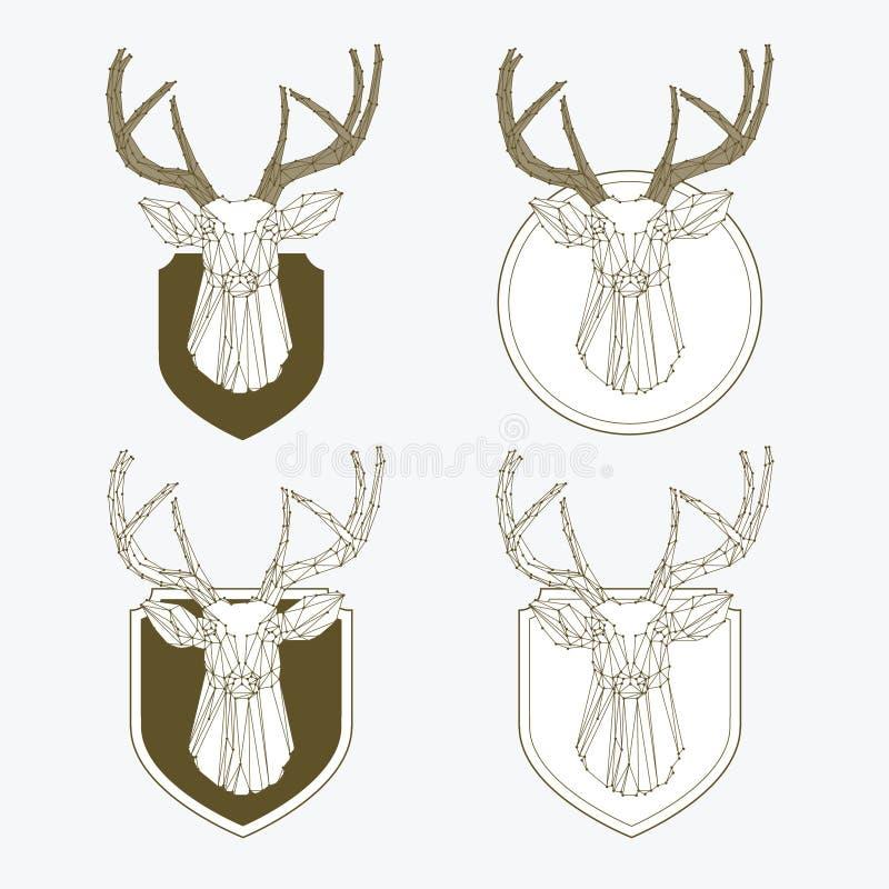 Grupo de etiquetas da caça e da pesca do vintage ilustração stock