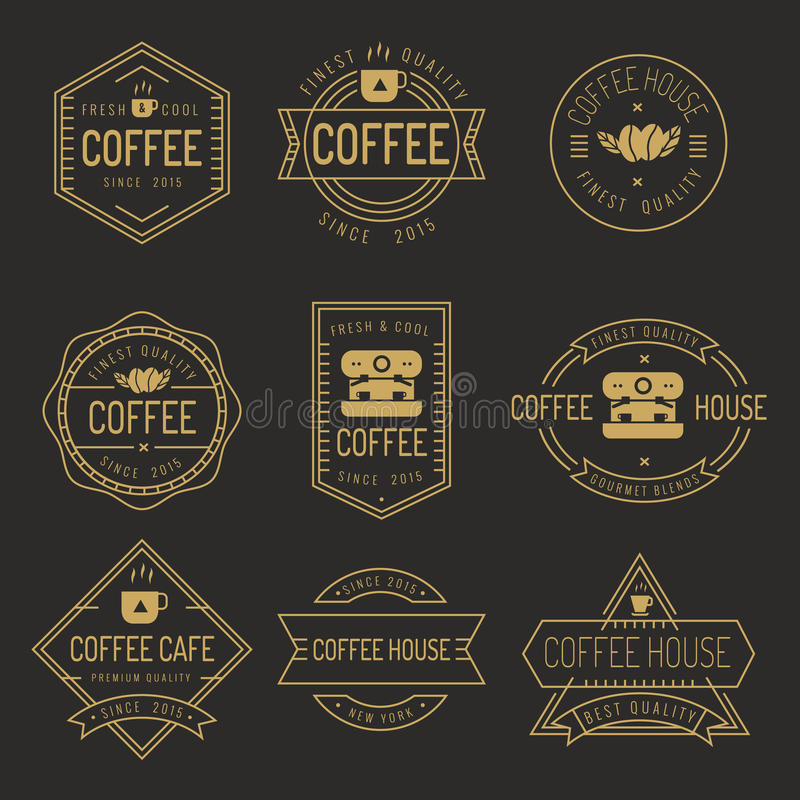 Grupo de etiquetas da cafetaria, logotipo, crachás - vector a ilustração ilustração royalty free