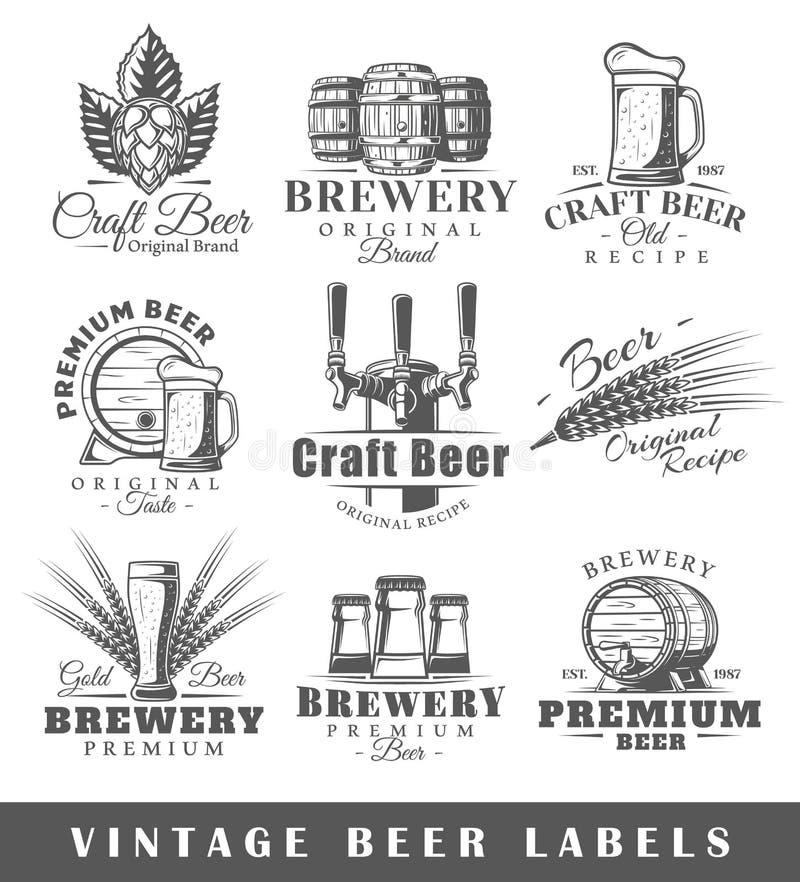 Grupo de etiquetas da cerveja do vintage ilustração royalty free